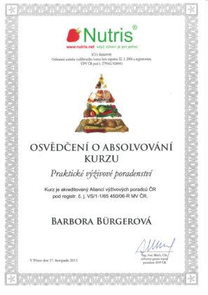 Barbora Burgerová, certifikát, praktické výživové poradenství