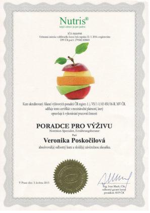 Veronika Poskočilová, certifikát, poradce pro výživu
