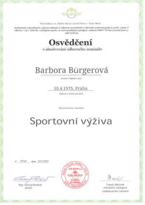 Barbora Burgerová, certifikát, sportovní výživa