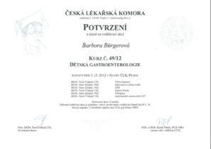 Barbora Burgerová, certifikát, Dětská gastroenterologie