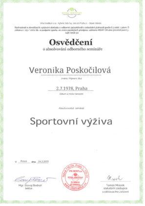 Veronika Poskočilová, certifikát, sportovní výživa