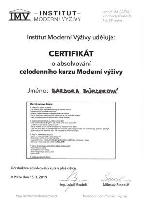 Barbora Burgerová, certifikát, moderní výživa