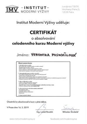 Veronika Poskočilová, certifikát, moderní výživa