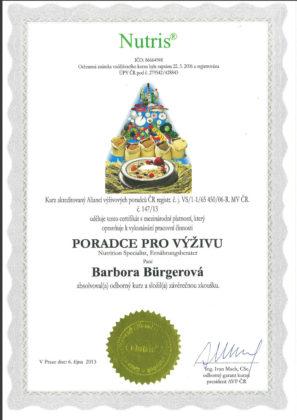 Barbora Burgerová, certifikát, poradce pro výživu